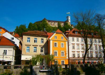 As margens do rio em Ljubljana, Eslovénia