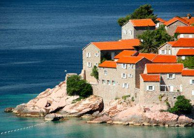 Detalhe da semi ilha de Sveti Stefan, Montenegro