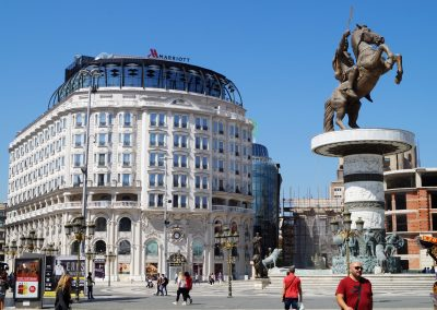 A Praça Macedónia na capital do país, Skopje